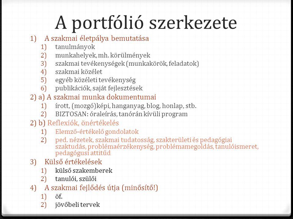 A portfólió szerkezete 1) A szakmai életpálya bemutatása 1) tanulmányok 2) munkahelyek, mh. körülmények 3) szakmai tevékenységek (munkakörök, feladato