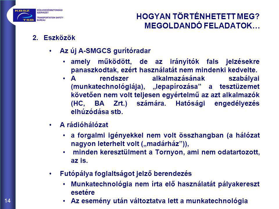 2.Eszközök •Az új A-SMGCS gurítóradar •amely működött, de az irányítók fals jelzésekre panaszkodtak, ezért használatát nem mindenki kedvelte.