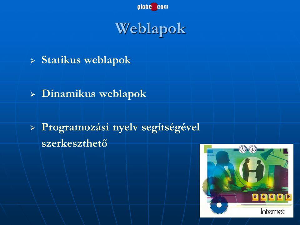 Weblapok   Statikus weblapok   Dinamikus weblapok   Programozási nyelv segítségével szerkeszthető