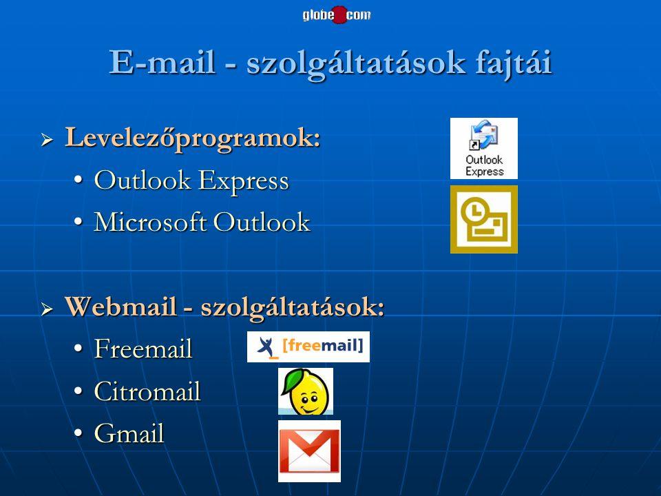 E-mail - szolgáltatások fajtái  Levelezőprogramok: •Outlook Express •Microsoft Outlook  Webmail - szolgáltatások: •Freemail •Citromail •Gmail
