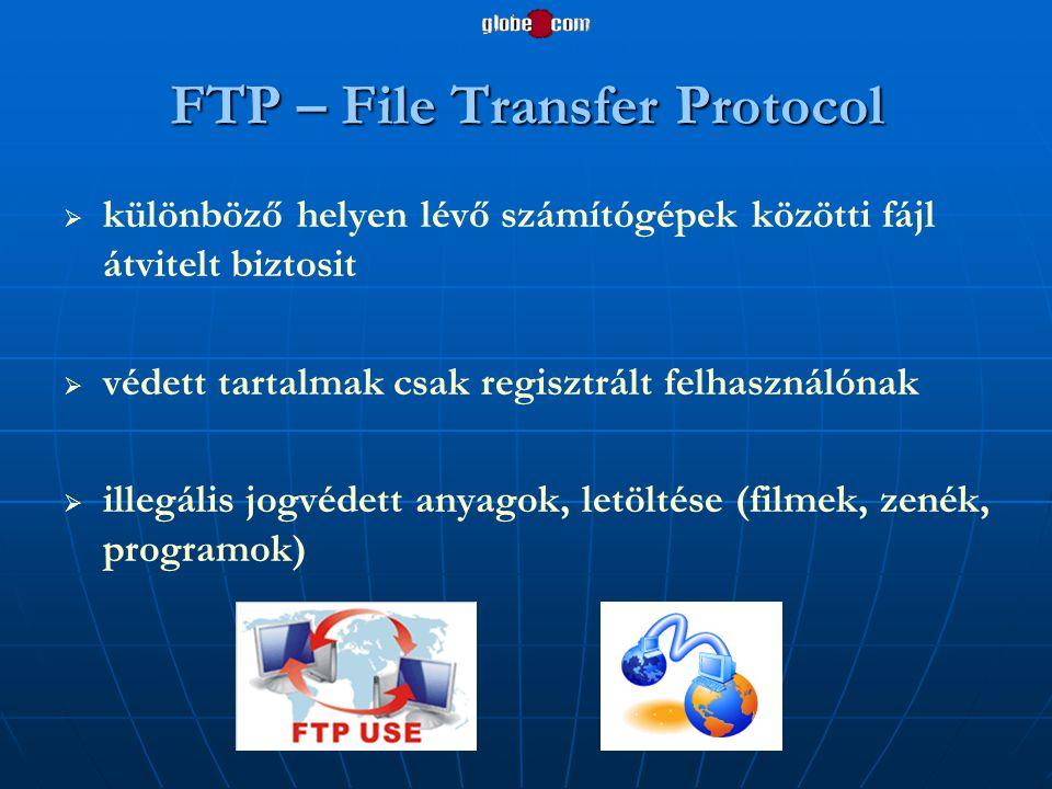 FTP – File Transfer Protocol   különböző helyen lévő számítógépek közötti fájl átvitelt biztosit   védett tartalmak csak regisztrált felhasználóna