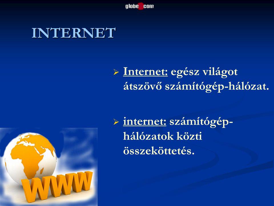INTERNET   Internet: egész világot átszövő számítógép-hálózat.   internet: számítógép- hálózatok közti összeköttetés.