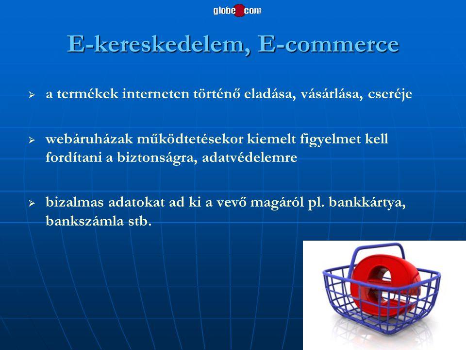 E-kereskedelem, E-commerce   a termékek interneten történő eladása, vásárlása, cseréje   webáruházak működtetésekor kiemelt figyelmet kell fordíta