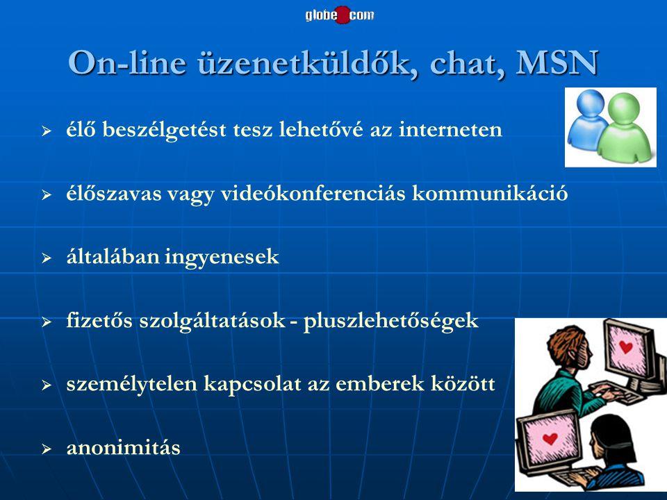 On-line üzenetküldők, chat, MSN   élő beszélgetést tesz lehetővé az interneten   élőszavas vagy videókonferenciás kommunikáció   általában ingye