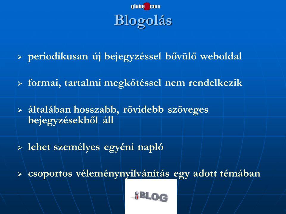 Blogolás   periodikusan új bejegyzéssel bővülő weboldal   formai, tartalmi megkötéssel nem rendelkezik   általában hosszabb, rövidebb szöveges b