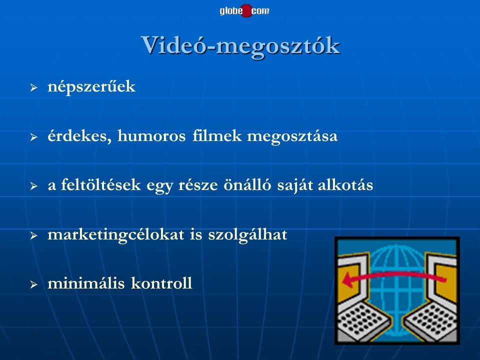 Videó-megosztók   népszerűek   érdekes, humoros filmek megosztása   a feltöltések egy része önálló saját alkotás   marketingcélokat is szolgál