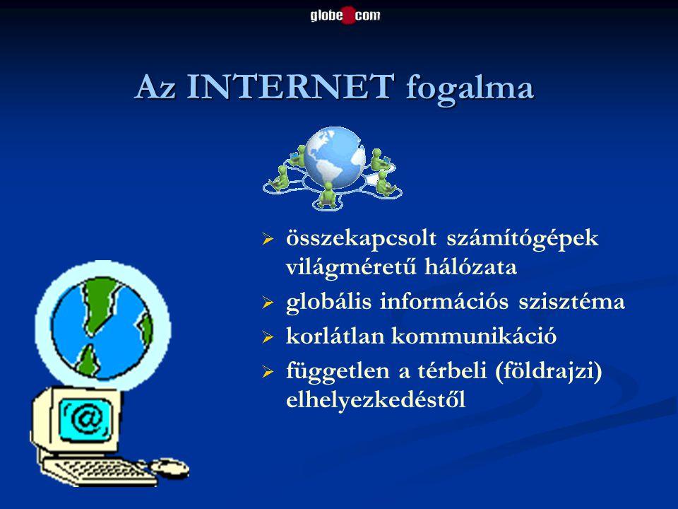 Az INTERNET fogalma   összekapcsolt számítógépek világméretű hálózata   globális információs szisztéma   korlátlan kommunikáció   független a