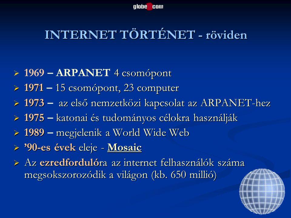 INTERNET TÖRTÉNET - röviden  4 csomópont  1969 – ARPANET 4 csomópont  1971 15 csomópont, 23 computer  1971 – 15 csomópont, 23 computer  1973 az e