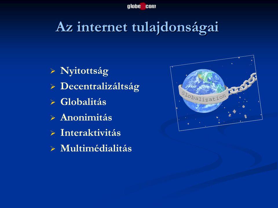 Az internet tulajdonságai   Nyitottság   Decentralizáltság   Globalitás   Anonimitás   Interaktivitás   Multimédialitás