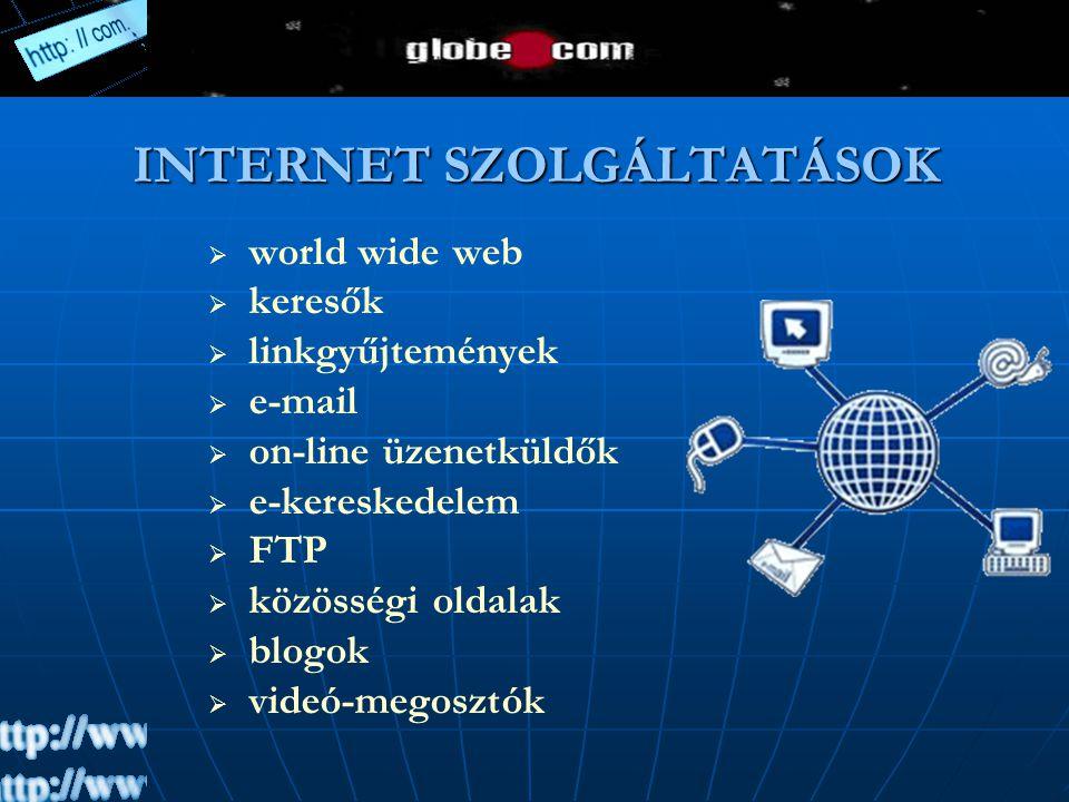 INTERNET SZOLGÁLTATÁSOK   world wide web   keresők   linkgyűjtemények   e-mail   on-line üzenetküldők   e-kereskedelem   FTP   közössé