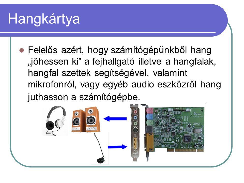 """Hangkártya  Felelős azért, hogy számítógépünkből hang """"jöhessen ki"""" a fejhallgató illetve a hangfalak, hangfal szettek segítségével, valamint mikrofo"""