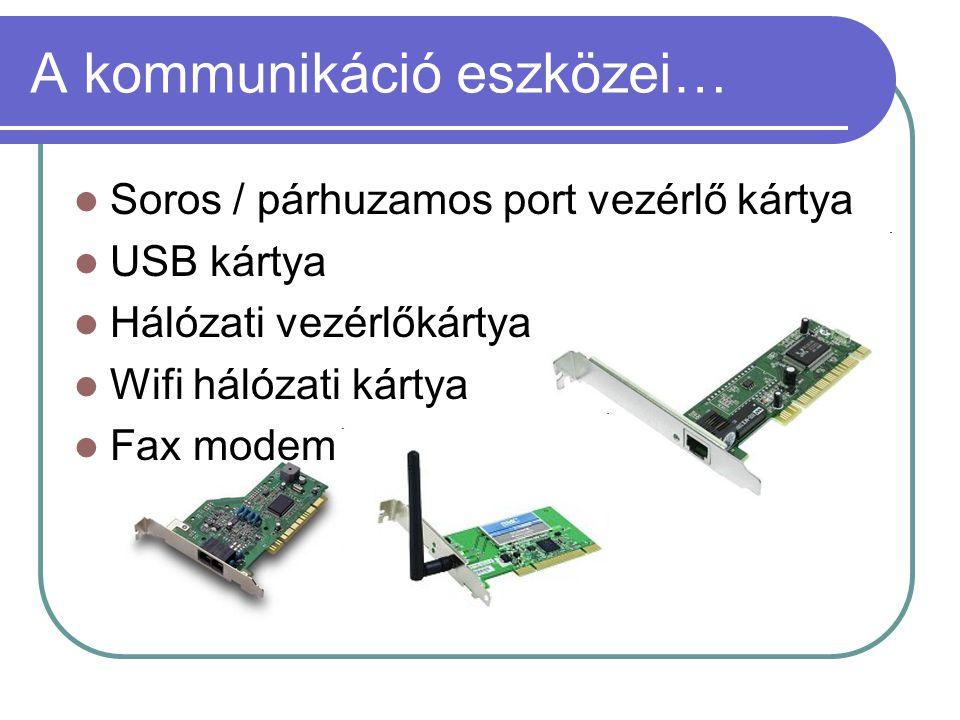 A kommunikáció eszközei…  Soros / párhuzamos port vezérlő kártya  USB kártya  Hálózati vezérlőkártya  Wifi hálózati kártya  Fax modem