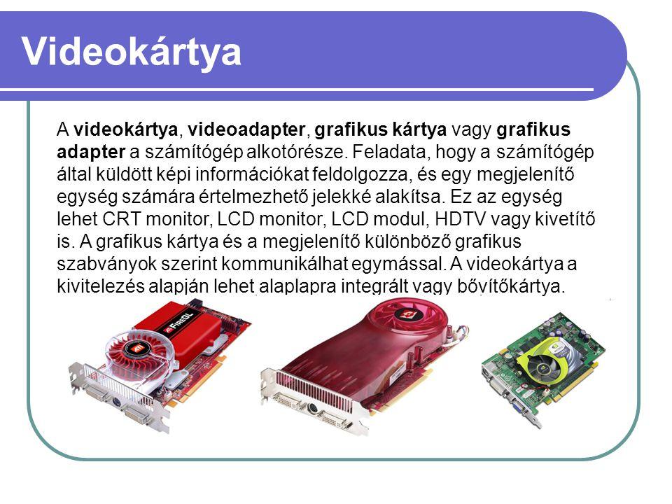 Videokártya A videokártya, videoadapter, grafikus kártya vagy grafikus adapter a számítógép alkotórésze. Feladata, hogy a számítógép által küldött kép
