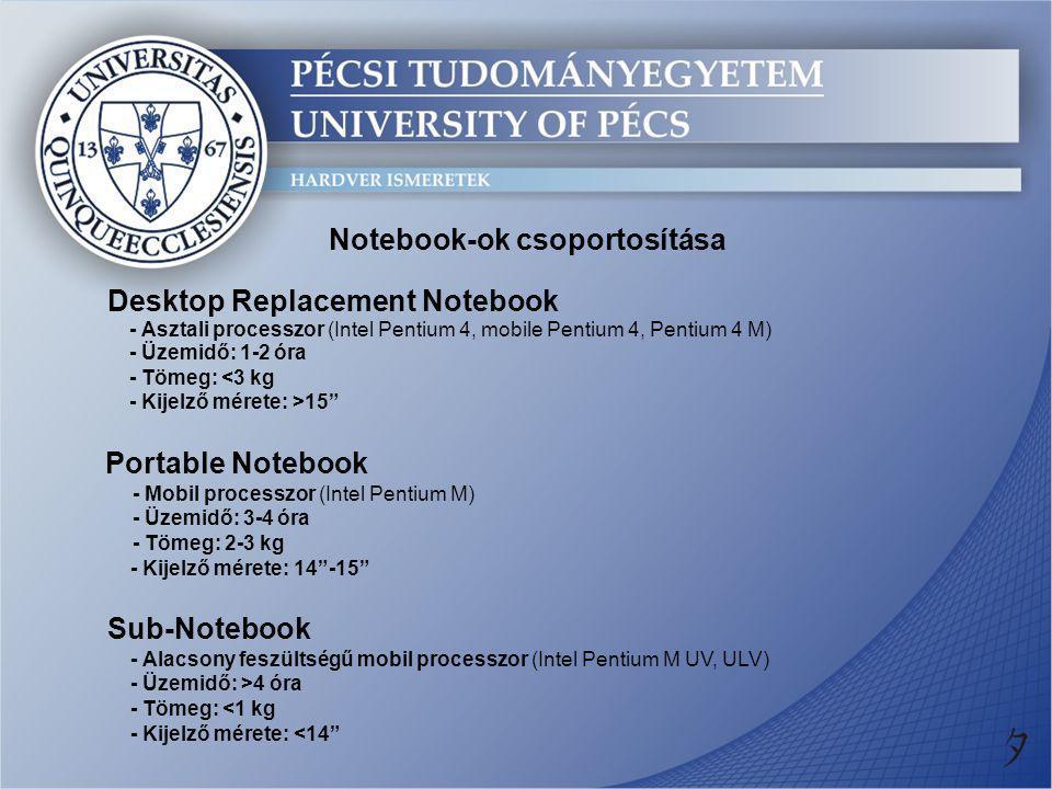 Notebook-ok csoportosítása Desktop Replacement Notebook Portable Notebook Sub-Notebook - Tömeg: <1 kg - Asztali processzor (Intel Pentium 4, mobile Pe