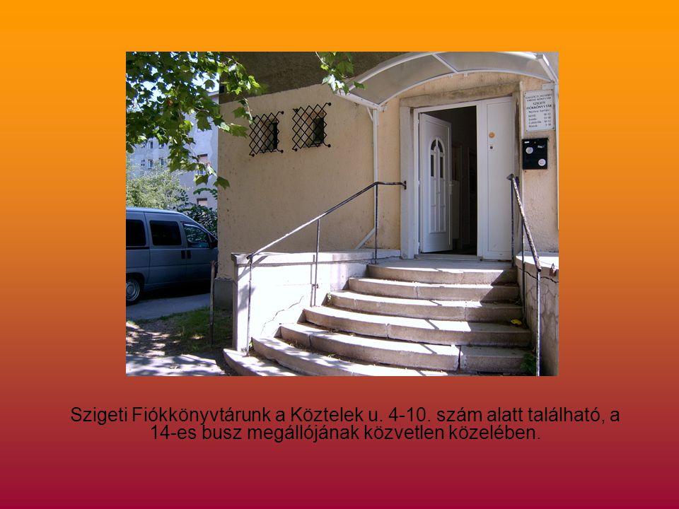 Szigeti Fiókkönyvtárunk a Köztelek u. 4-10.