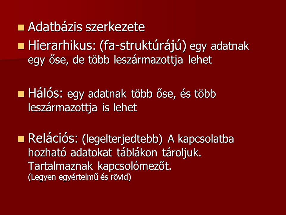  Adatbázis szerkezete  Hierarhikus: (fa-struktúrájú) egy adatnak egy őse, de több leszármazottja lehet  Hálós: egy adatnak több őse, és több leszár