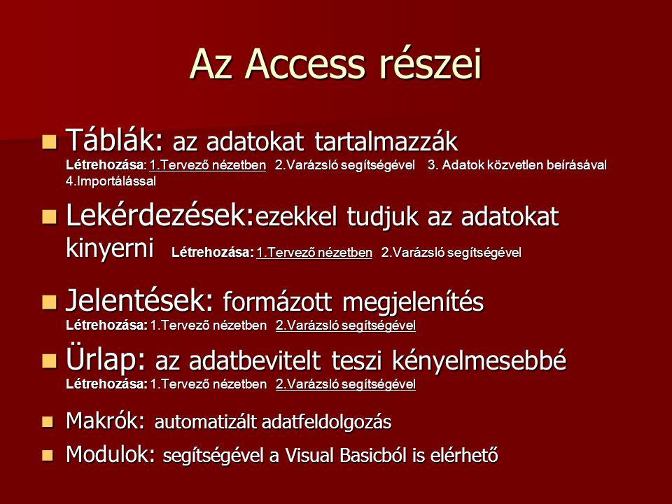 Az Access részei  Táblák: az adatokat tartalmazzák Létrehozása: 1.Tervező nézetben 2.Varázsló segítségével 3. Adatok közvetlen beírásával 4.Importálá
