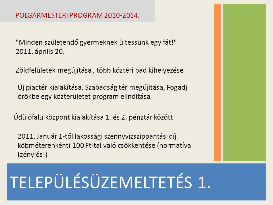 TELEPÜLÉSÜZEMELTETÉS 1.POLGÁRMESTERI PROGRAM 2010-2014.