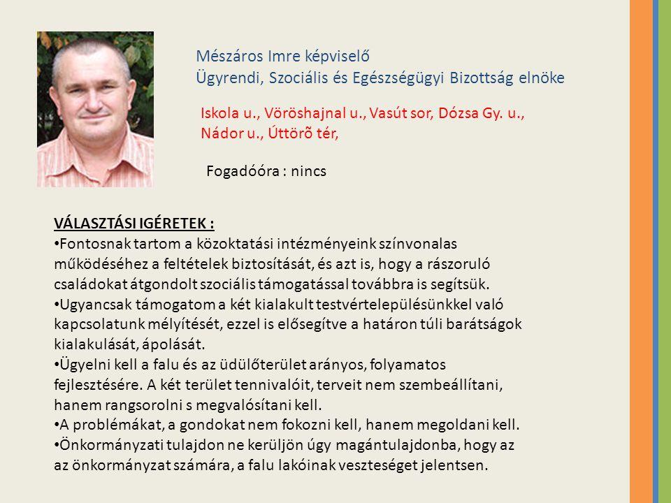 Mészáros Imre képviselő Ügyrendi, Szociális és Egészségügyi Bizottság elnöke Iskola u., Vöröshajnal u., Vasút sor, Dózsa Gy.