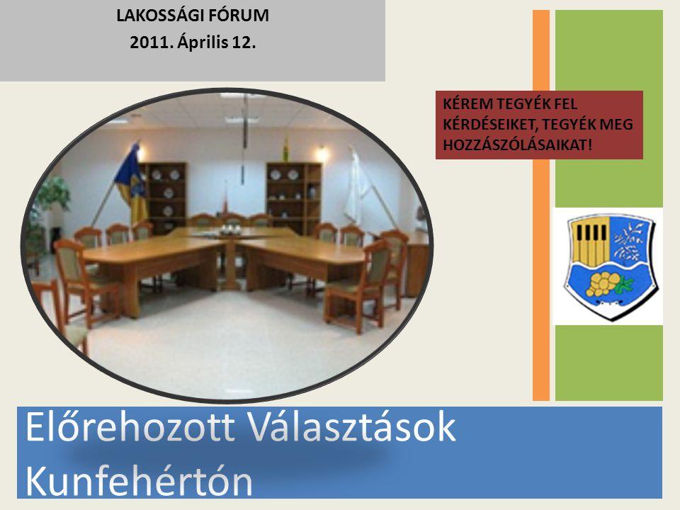 Előrehozott Választások Kunfehértón LAKOSSÁGI FÓRUM 2011. Április 12. KÉREM TEGYÉK FEL KÉRDÉSEIKET, TEGYÉK MEG HOZZÁSZÓLÁSAIKAT!