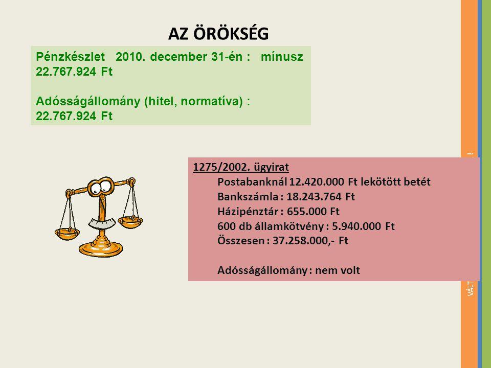 VÁLTOZTASSON, HOGY VÁLTOZTATHASSAK ! Pénzkészlet 2010. december 31-én : mínusz 22.767.924 Ft Adósságállomány (hitel, normatíva) : 22.767.924 Ft 1275/2