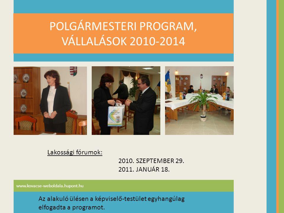 www.kovacse-weboldala.hupont.hu POLGÁRMESTERI PROGRAM, VÁLLALÁSOK 2010-2014 Lakossági fórumok: 2010. SZEPTEMBER 29. 2011. JANUÁR 18. Az alakuló ülésen
