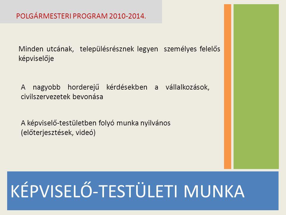 KÉPVISELŐ-TESTÜLETI MUNKA POLGÁRMESTERI PROGRAM 2010-2014.