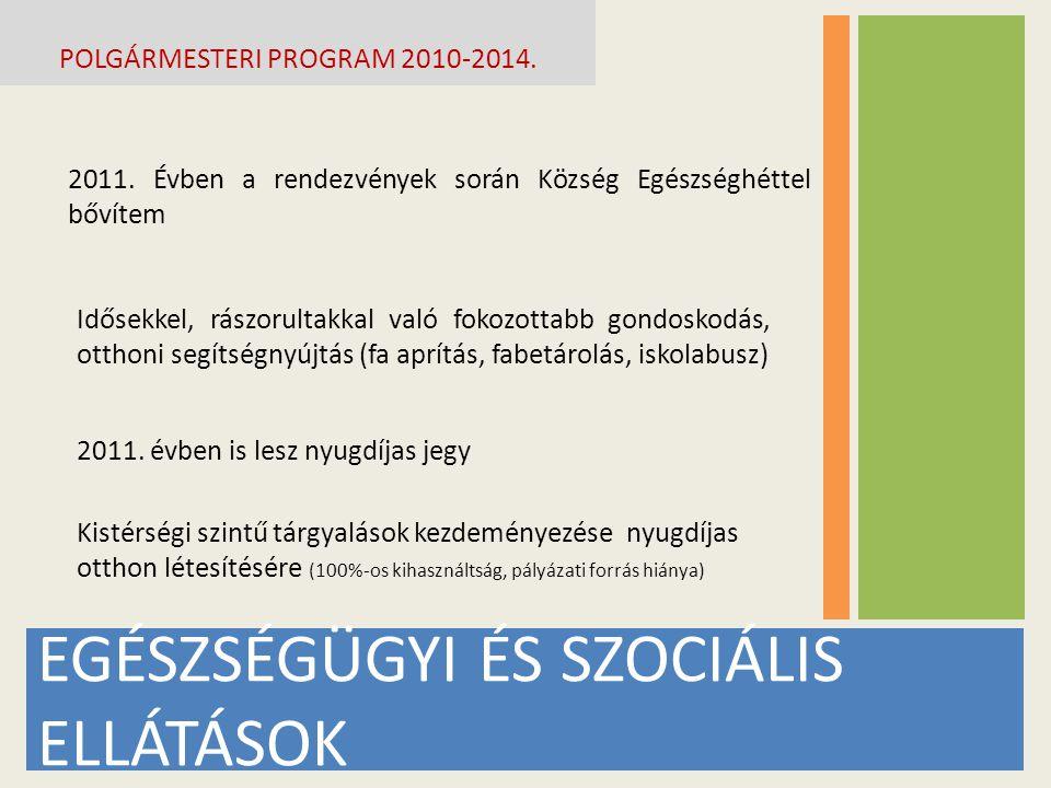 EGÉSZSÉGÜGYI ÉS SZOCIÁLIS ELLÁTÁSOK POLGÁRMESTERI PROGRAM 2010-2014.