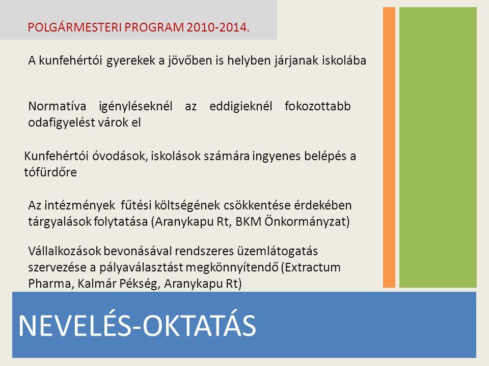 NEVELÉS-OKTATÁS POLGÁRMESTERI PROGRAM 2010-2014. A kunfehértói gyerekek a jövőben is helyben járjanak iskolába Normatíva igényléseknél az eddigieknél