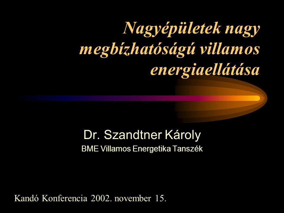 Nagyépületek nagy megbízhatóságú villamos energiaellátása Dr. Szandtner Károly BME Villamos Energetika Tanszék Kandó Konferencia 2002. november 15.