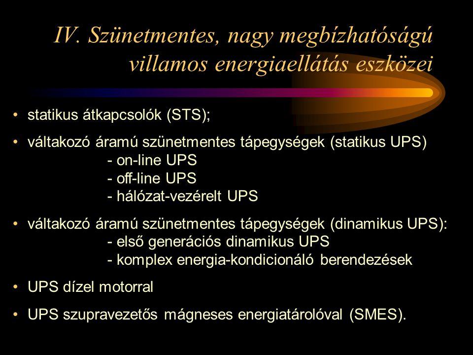 IV. Szünetmentes, nagy megbízhatóságú villamos energiaellátás eszközei •statikus átkapcsolók (STS); •váltakozó áramú szünetmentes tápegységek (statiku