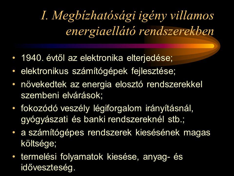 I. Megbízhatósági igény villamos energiaellátó rendszerekben •1940. évtől az elektronika elterjedése; •elektronikus számítógépek fejlesztése; •növeked