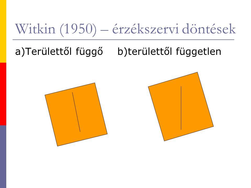 Witkin (1950) – érzékszervi döntések a)Területtől függő b)területtől független