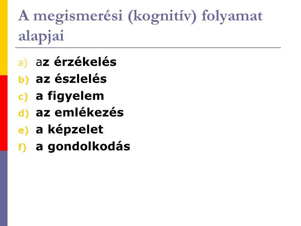 A megismerési (kognitív) folyamat alapjai a) az érzékelés b) az észlelés c) a figyelem d) az emlékezés e) a képzelet f) a gondolkodás