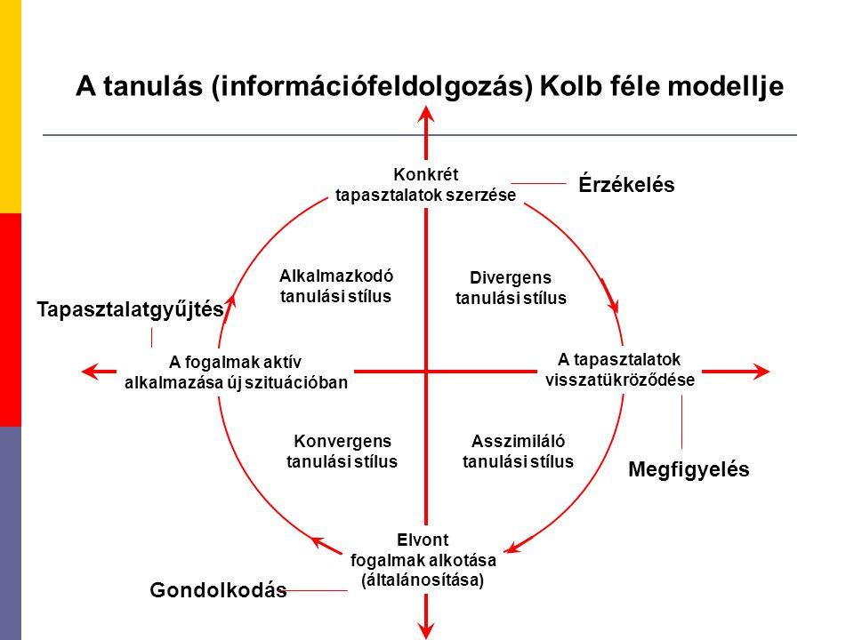 A tanulás (információfeldolgozás) Kolb féle modellje Konkrét tapasztalatok szerzése A tapasztalatok visszatükröződése A fogalmak aktív alkalmazása új