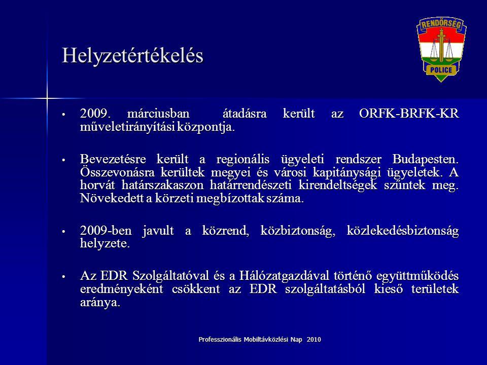 Professzionális Mobiltávközlési Nap 2010 Helyzetértékelés • 2009. márciusban átadásra került az ORFK-BRFK-KR műveletirányítási központja. • Bevezetésr