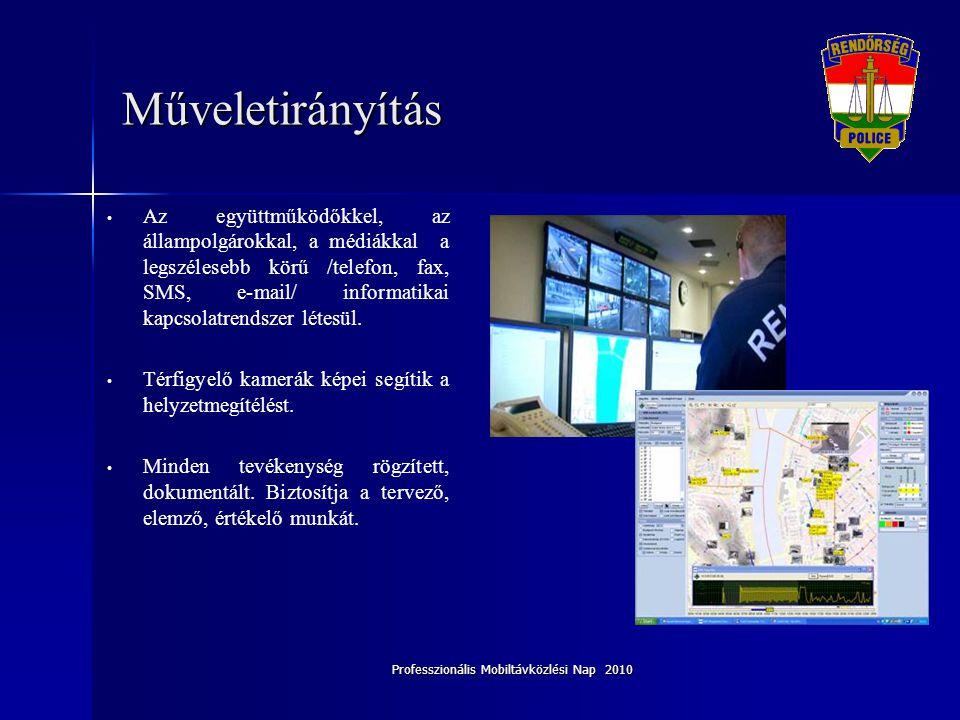 Professzionális Mobiltávközlési Nap 2010 Műveletirányítás • Az együttműködőkkel, az állampolgárokkal, a médiákkal a legszélesebb körű /telefon, fax, S