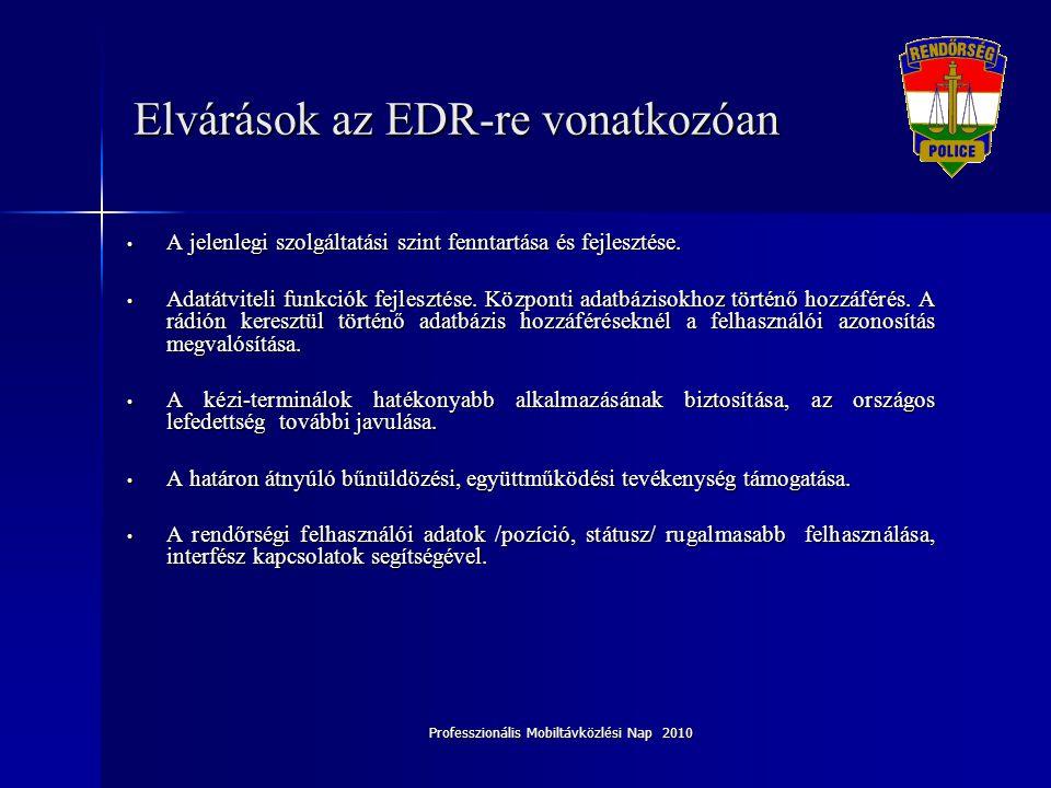 Professzionális Mobiltávközlési Nap 2010 Elvárások az EDR-re vonatkozóan • A jelenlegi szolgáltatási szint fenntartása és fejlesztése. • Adatátviteli