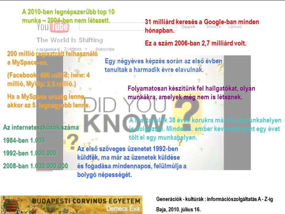 Demecs Éva Generációk - kultúrák : információszolgáltatás A - Z-ig Baja, 2010. július 16.