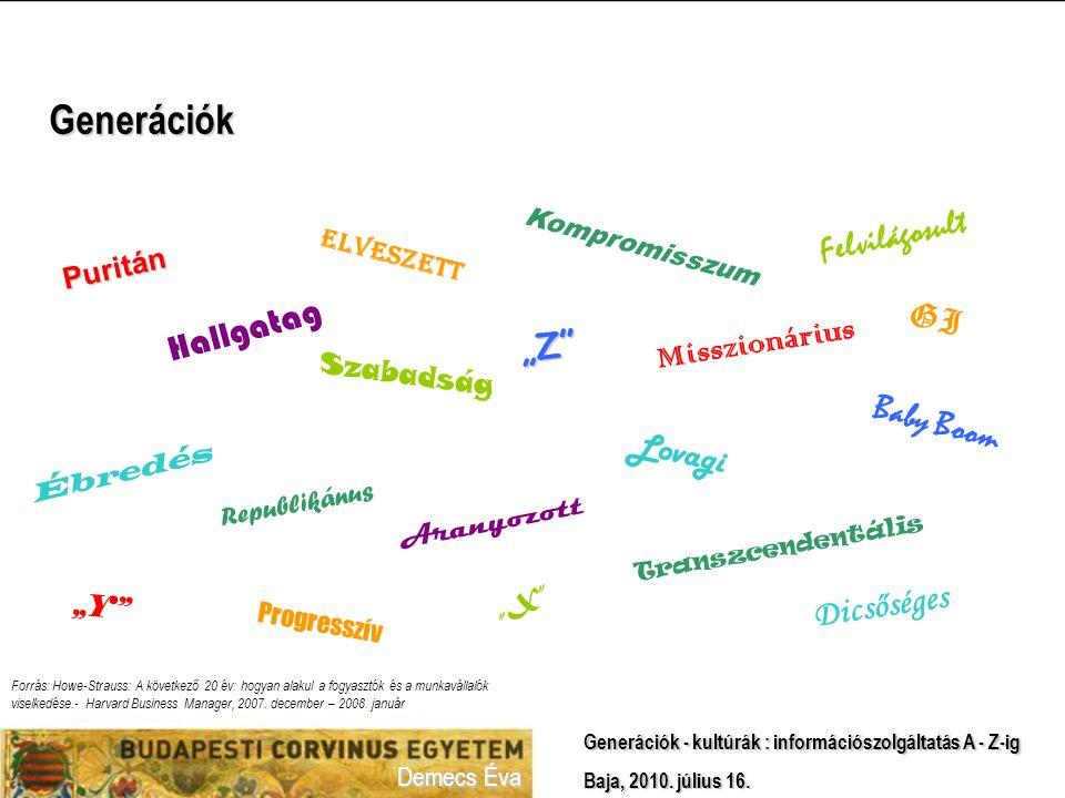 Demecs Éva Generációk - kultúrák : információszolgáltatás A - Z-ig Baja, 2010.