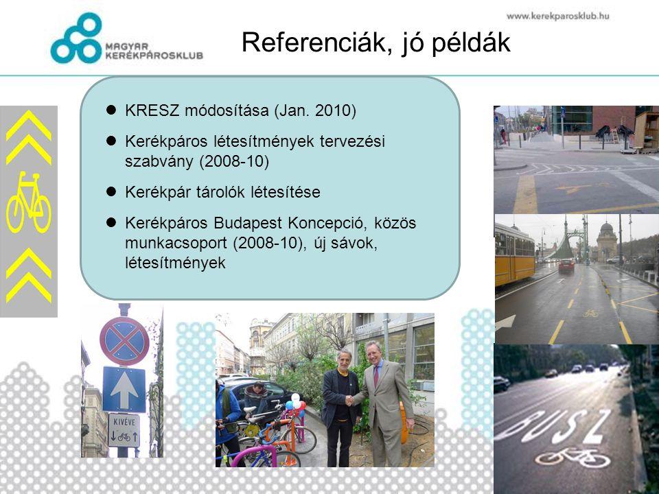 Referenciák, jó példák  KRESZ módosítása (Jan. 2010)  Kerékpáros létesítmények tervezési szabvány (2008-10)  Kerékpár tárolók létesítése  Kerékp