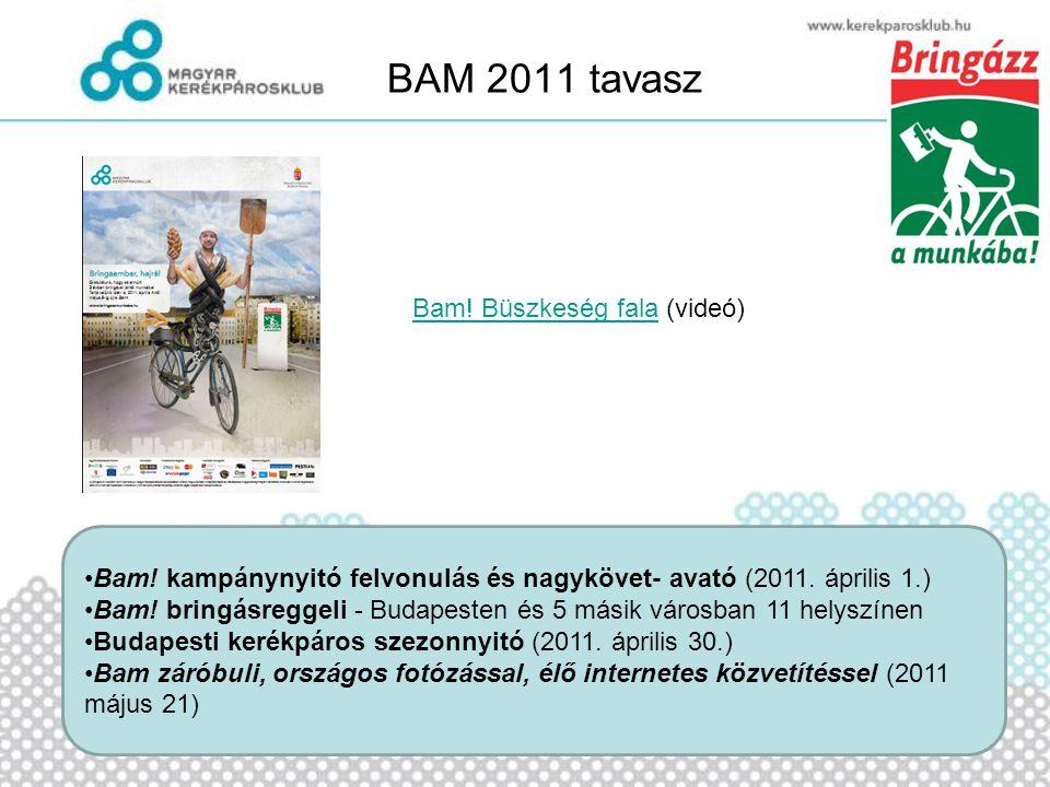 BAM 2011 tavasz •Bam! kampánynyitó felvonulás és nagykövet- avató (2011. április 1.) •Bam! bringásreggeli - Budapesten és 5 másik városban 11 helyszín