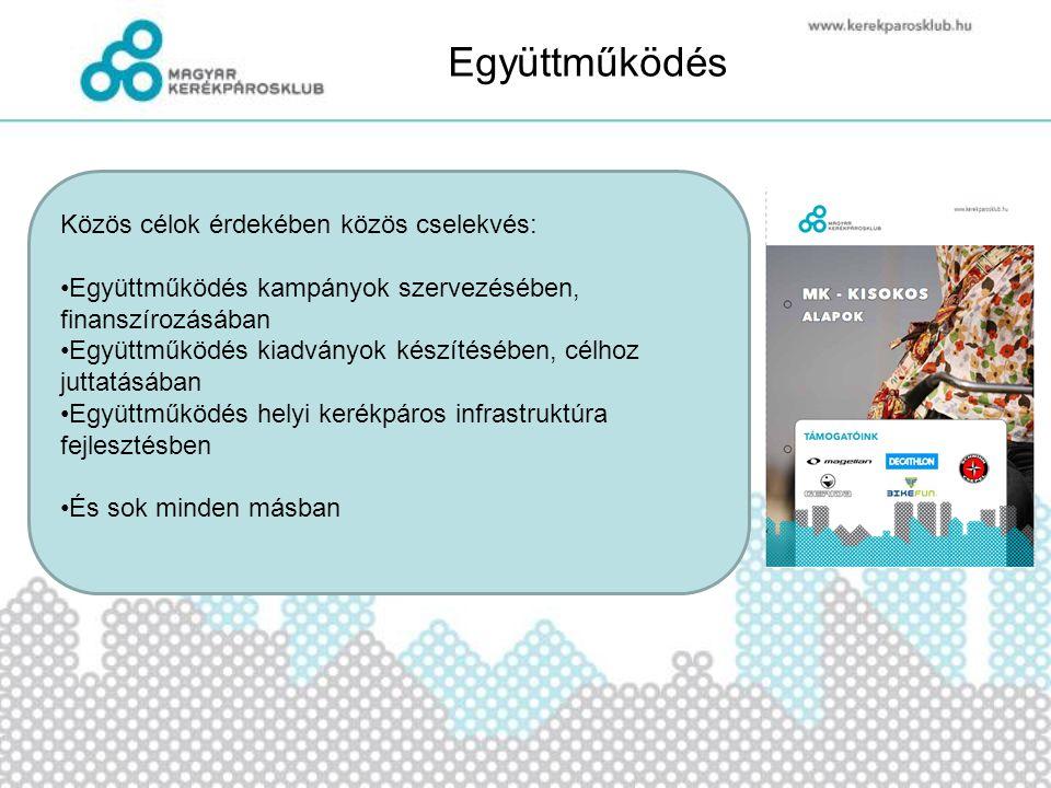 Együttműködés Közös célok érdekében közös cselekvés: •Együttműködés kampányok szervezésében, finanszírozásában •Együttműködés kiadványok készítésében,