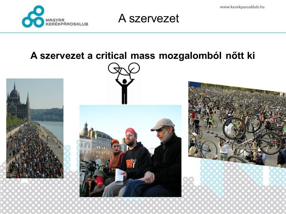 A szervezet A Magyar Kerékpároskub 2002-ben alakult Ma közel 1500 fizető tagja van országszerte Nemzetközileg ismert és elismert szervezet, az ECF tagja Az ország egyik legismertebb civil szervezete •Népszerűvé tenni a kerékpározást a közlekedésben, sportban, szabadidő eltöltésben.