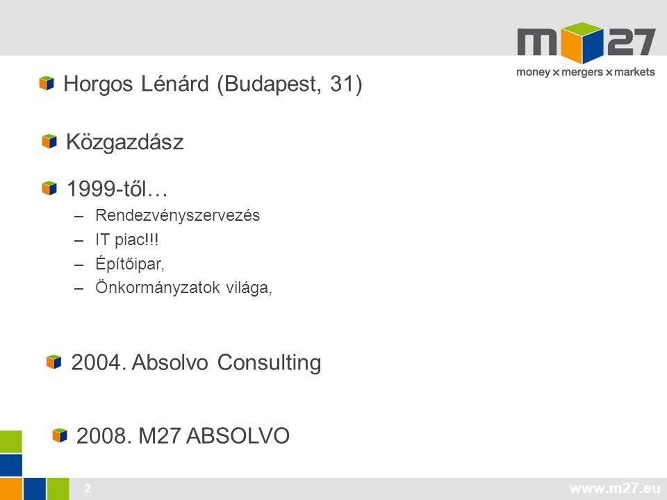2 Horgos Lénárd (Budapest, 31) 1999-től… –Rendezvényszervezés –IT piac!!.
