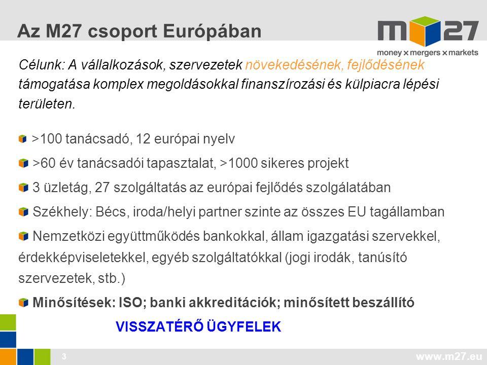 www.m27.eu 3 Az M27 csoport Európában Célunk: A vállalkozások, szervezetek növekedésének, fejlődésének támogatása komplex megoldásokkal finanszírozási és külpiacra lépési területen.
