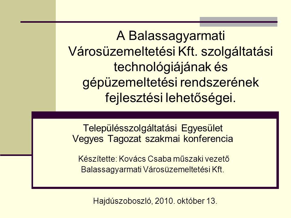 A Balassagyarmati Városüzemeltetési Kft. szolgáltatási technológiájának és gépüzemeltetési rendszerének fejlesztési lehetőségei. Településszolgáltatás