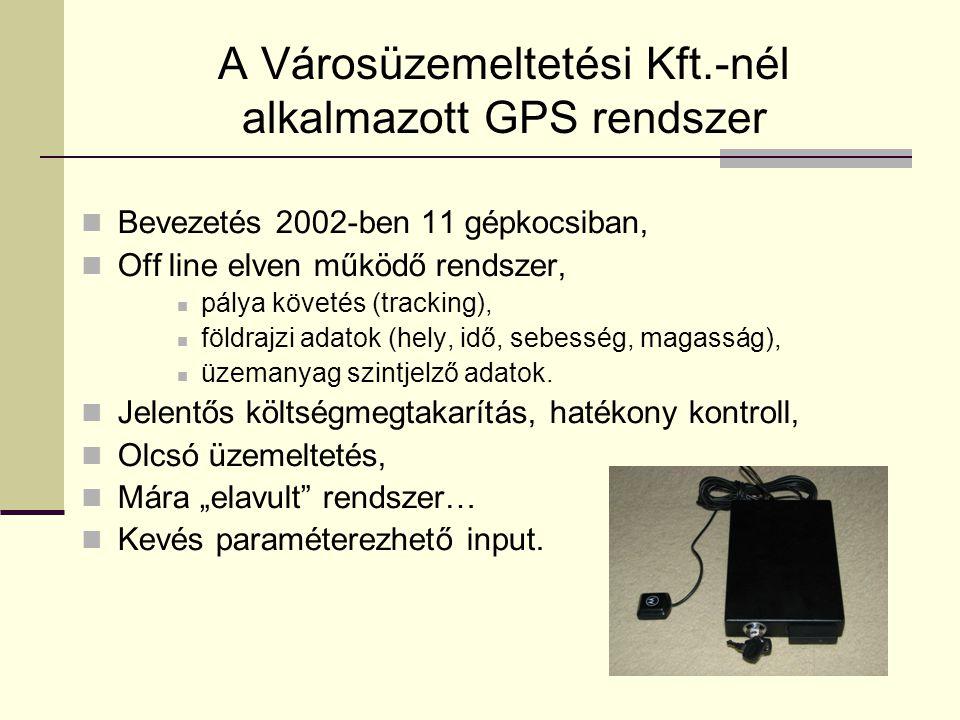 A Városüzemeltetési Kft.-nél alkalmazott GPS rendszer  Bevezetés 2002-ben 11 gépkocsiban,  Off line elven működő rendszer,  pálya követés (tracking