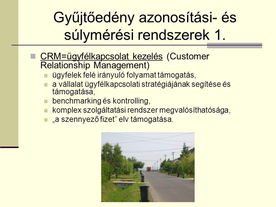 Gyűjtőedény azonosítási- és súlymérési rendszerek 1.  CRM=ügyfélkapcsolat kezelés (Customer Relationship Management)  ügyfelek felé irányuló folyama