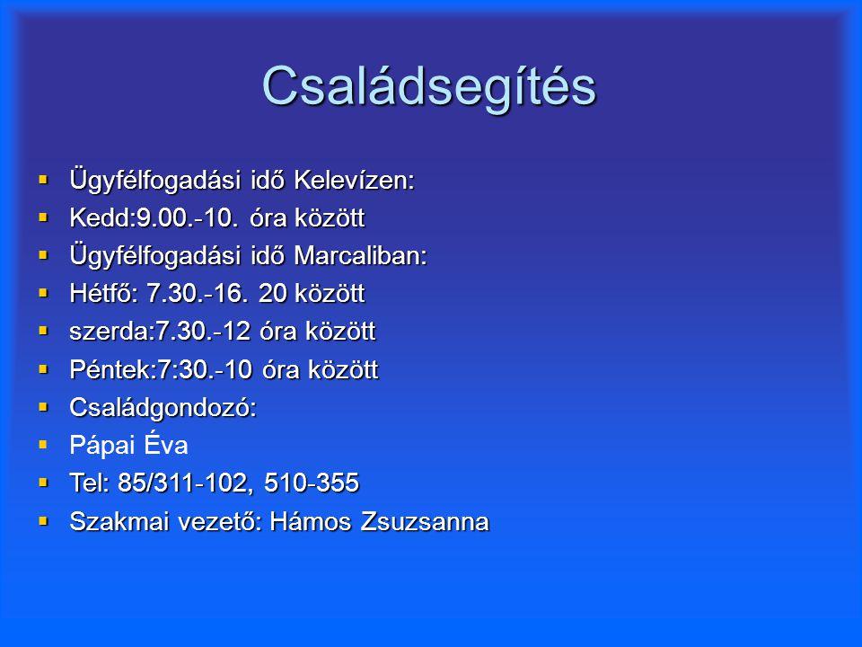 Családsegítés  Ügyfélfogadási idő Kelevízen:  Kedd:9.00.-10. óra között  Ügyfélfogadási idő Marcaliban:  Hétfő: 7.30.-16. 20 között  szerda:7.30.